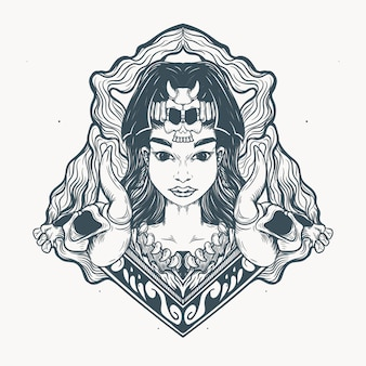 민족 소녀와 해골 장식