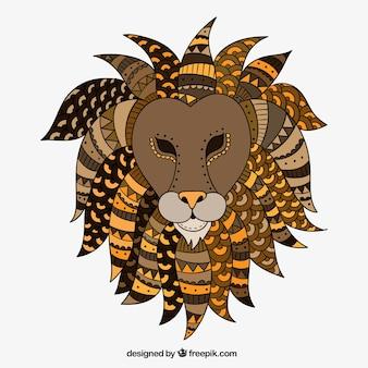 民族手描きライオン