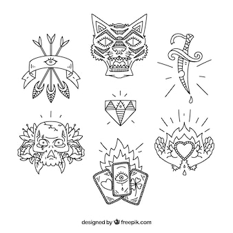 Ethnic hand drawn tattoo pack