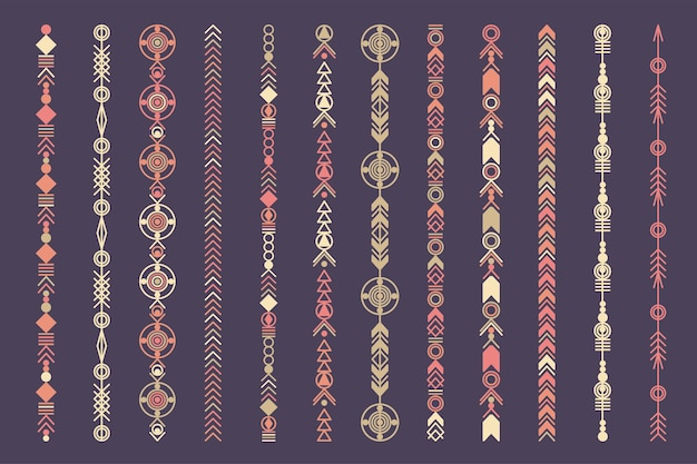 民族の手描きのベクトル線の境界線を設定します。自由奔放に生きるファッションスタイルのパターン。ベクトルデザイン要素。