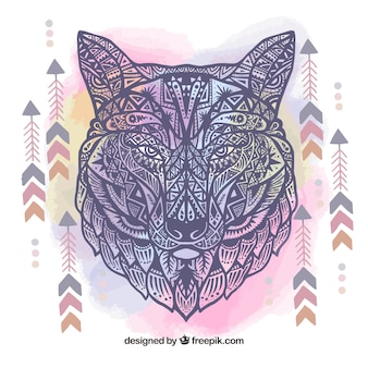 Sfondo etnico disegnato a mano del lupo