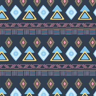 Ethnic handmade, abstract decoration tribal ornament seamless pattern vector illustration