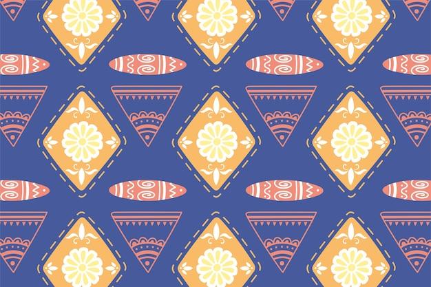 Этнические ручной работы, фон цветочные и племенные фольклорные украшения векторные иллюстрации