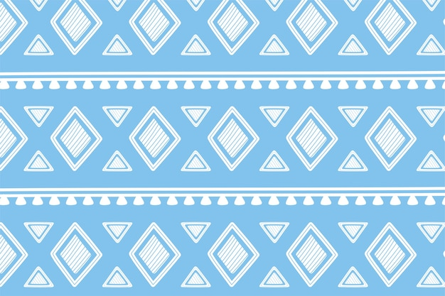 Ethnic handmade, blue shapes geometric tribal ornament wallpaper vector illustration