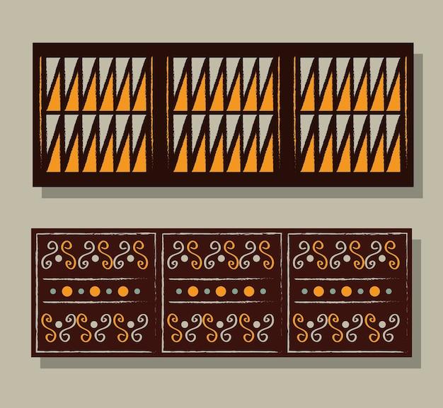 Ethnic handmade ornament aztec geometrics, stylish fabric illustration