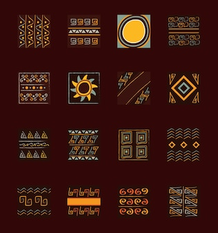 Ethnic handmade ornament tribal abstract decoration creative set illustration