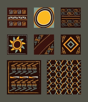 Ethnic handmade ornament tribal african culture textiles set illustration