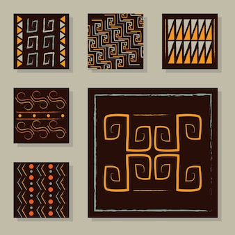 Ethnic handmade ornament tribal geometric stylish trendy fabric set illustration