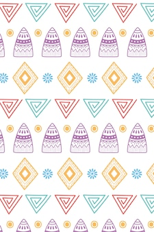 Ethnic handmade, tribal shapes flower ornament background vector illustration