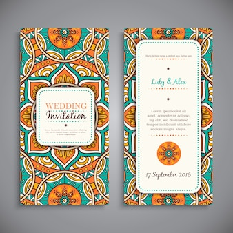 Ethnic hippie wedding invitation