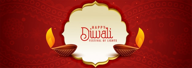 Ethnic indian diwali festival red banner