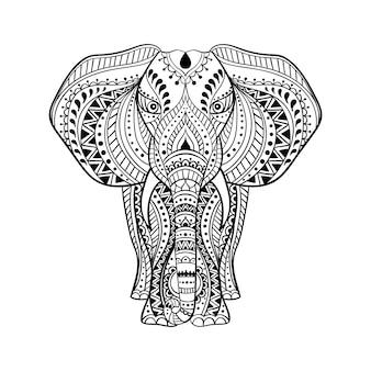 民族インド象のイラスト