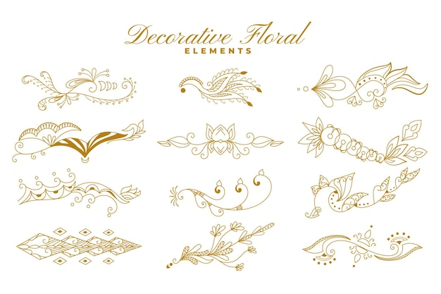 Ethnic indian floral style ornaments decoration collection