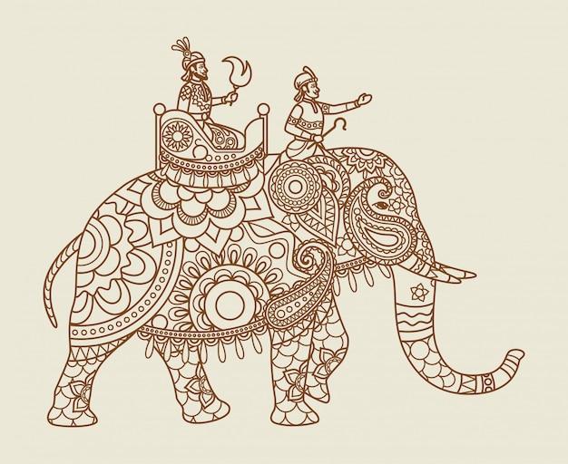 ビンテージカラーの民族インドマハラジャ