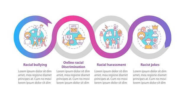 인종 불평등 벡터 infographic 템플릿입니다. 인종 차별적인 농담 프레젠테이션 개요 디자인 요소. 4단계로 데이터 시각화. 타임라인 정보 차트를 처리합니다. 라인 아이콘이 있는 워크플로 레이아웃