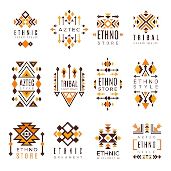 Ethnic logo. trendy tribal symbols geometric shapes indian decorative mexican elements