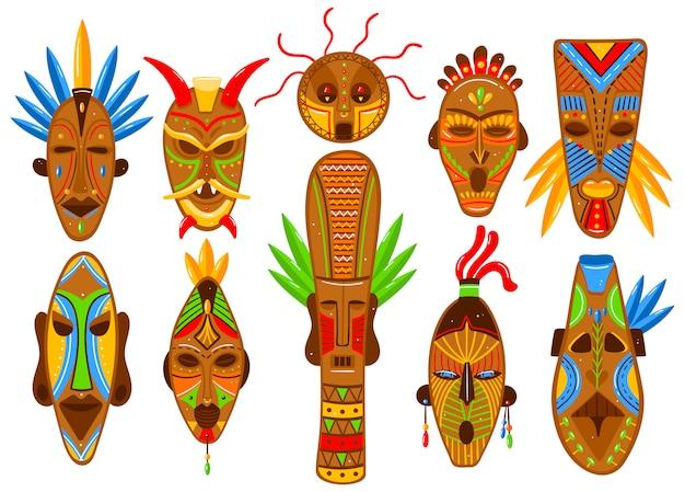 Ethnic mask set  on white, african tribal ritual totem, ceremonial idol avatar,  illustration