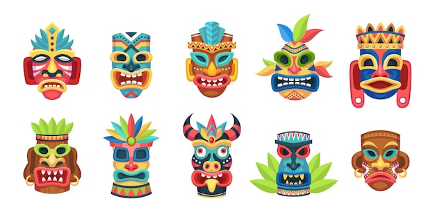 민족 마스크. 전통 의식, 의식 부족 멕시코 인디언 또는 아프리카 다채로운 마스크, 민족 장식, 폴리네시아 또는 마야 문화 나무 기호 벡터 세트가 있는 원주민 줄루 또는 아즈텍 우상