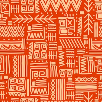 Ethnic motifs group seamless texture with orange stripes pattern.