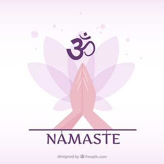 Ethnic namaste gesture with flat design