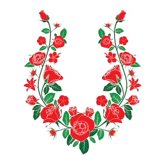 Ethnic neck line embroidery with roses