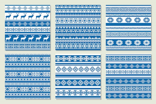 Ethnic nordic pattern with deer in blue and white colors. vector illustration.