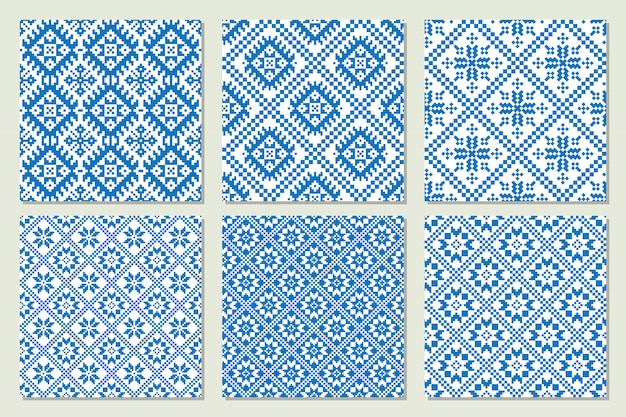 Ethnic nordic patterns set collection in blue and white colors. vector illustration.