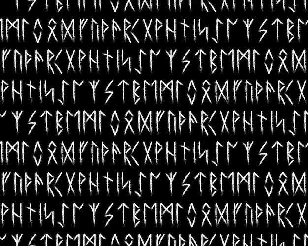 民族のノルウェーのアイスランドのシームレスなパターン。ヴァイキングと北部の人々のルーンのお守り。魔法と魔法のルーン。異教の兆候。フサルクの繰り返し可能な背景。ベクトルイラスト。