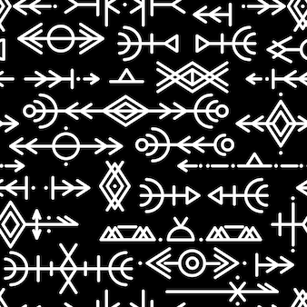 民族のノルウェーのアイスランドのシームレスなパターン。ヴァイキングと北部の人々のルーンのお守り。魔法と魔法のルーン。異教の兆候。フサルクの繰り返し可能な背景。ベクター
