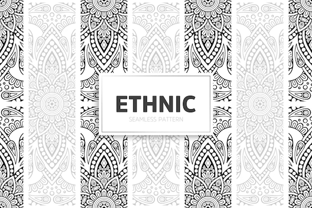 Ethnic pattern design mandala border.