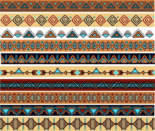 Ethnic pattern set handmade horizontal stripes black and white print for your textiles