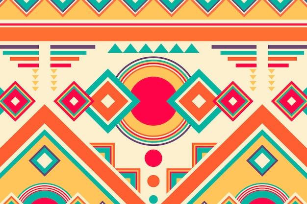 民族パターン、部族の背景ベクトル、カラフルなデザイン