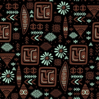 Ethnic pattern with hand drawn tribal aztec drawing symbol