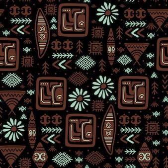 エスニックパターンの手で描かれた部族アステカ図面記号