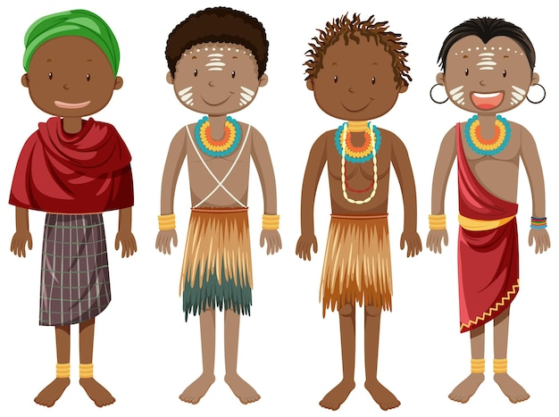 Ethnic people of african tribes in traditional clothing cartoon character