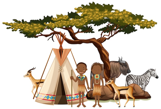Ethnic people of african tribes in traditional clothing isolated