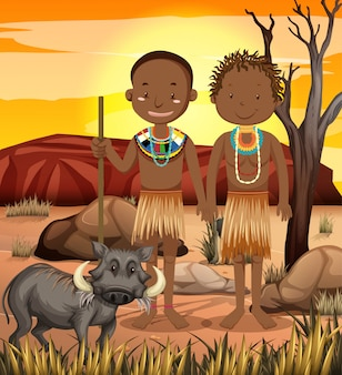 Ethnic people of african tribes in traditional clothing in nature
