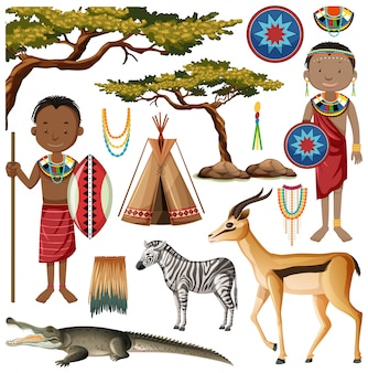 Ethnic people of african tribes in traditional clothing
