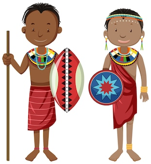 伝統的な服の漫画のキャラクターのアフリカの部族の民族の人々