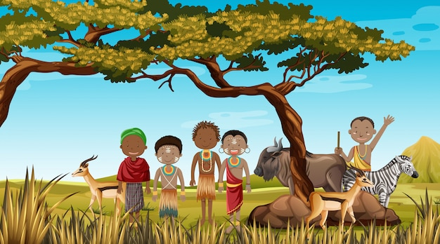 自然の背景の伝統的な服でアフリカの部族の民族の人々