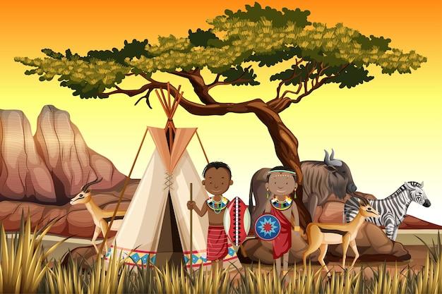 自然バックグラウンドで伝統的な服でアフリカの部族の民族の人々