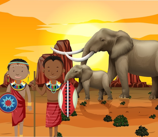 Этнические люди африканских племен в традиционной одежде на фоне природы