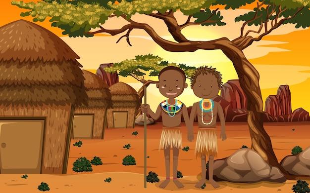 자연 배경에서 전통적인 의류에 아프리카 부족의 민족 사람들