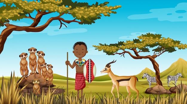 自然の中で伝統的な服でアフリカの部族の民族の人々