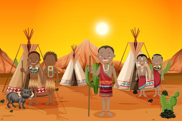 自然の中で伝統的な服を着たアフリカの部族の民族