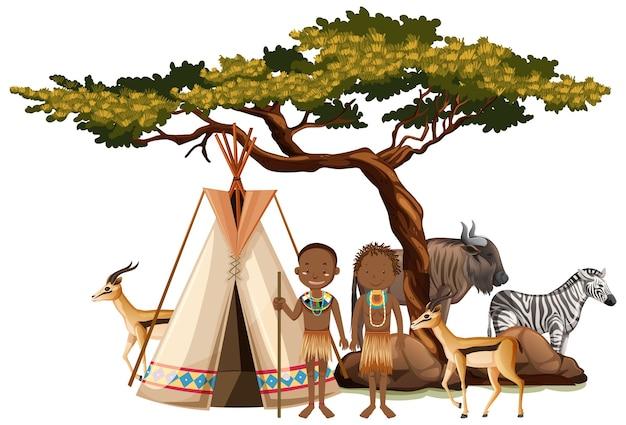 孤立した伝統的な服を着たアフリカの部族の民族