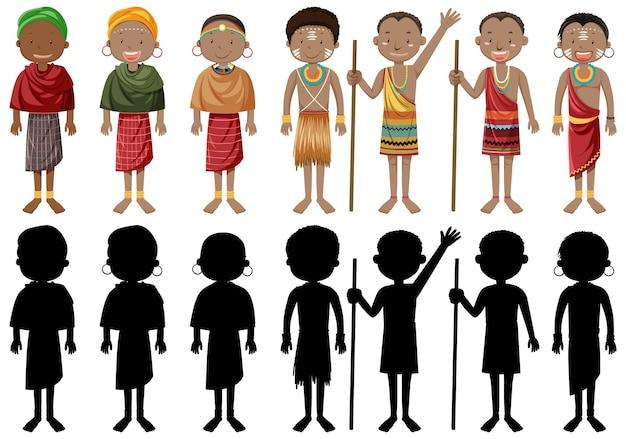 伝統的な服を着たアフリカの部族の民族