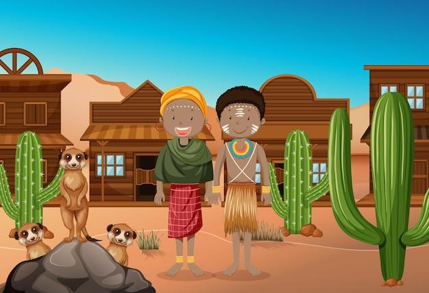 西の背景のアフリカの部族の民族