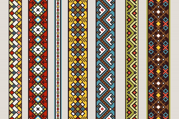 Ethnic ribbon patterns. vector mexican or tibetan seamless ribbon pattern set with carpet design