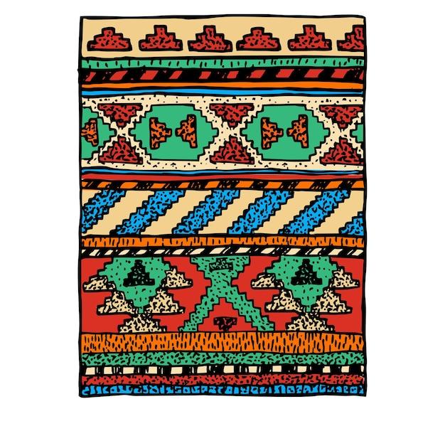 エスニックラグスケッチ。ウールのカーペットの上の民族の装飾。ペルー、アステカの手作り